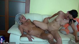 Grandma likes big long dildo on the couch OLDNANNY