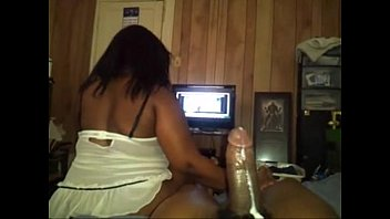Big Booty Ebony Reverse Cowgirl While Watching Tv thumbnail