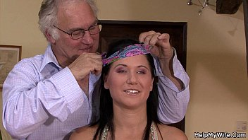 Brunette wife cuckolds her old hubby
