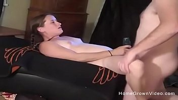 Small tit girlfriend films her first porno