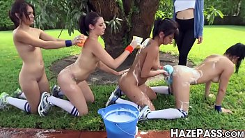 Naked frat initiates College dykes washing off before oral initiation