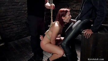 Tied and zippered redhead takes bbc