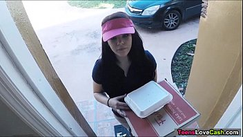 Asian pizza boy sex Kimber woods delivers pizza and bangs customer for more tips