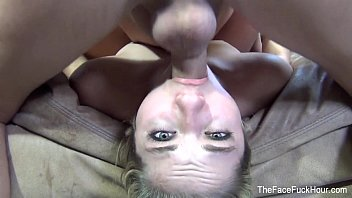 Blonde babe gets her throat filled thumbnail