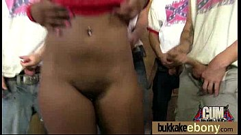 Ebony girl gang banged and covered in cum 11