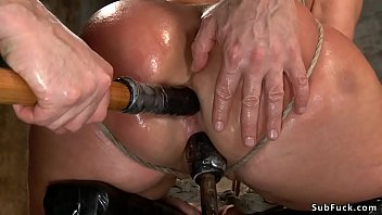 Tight tied blonde dp toyed on hogtie