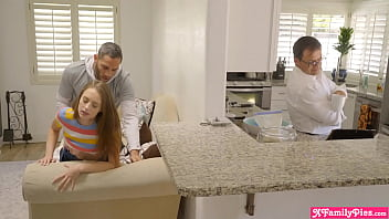 Naughty stepsiblings suck and fuck with dad right there