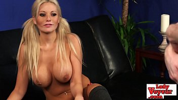 Stunning busty brit babe teasing horny cock