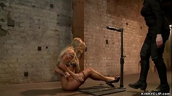 Bound oiled blonde pussy vibrated
