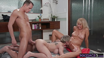 Two horny matures Erica Lauren and Dee Williams rode young big cock before massage