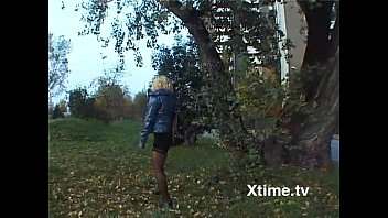 Italian blonde in miniskirt flashing her pussy before a good fuck