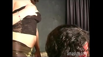 Sexy and chubby woman in mask slammed doggystyle