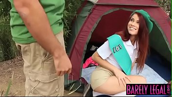 Redhead girlscout Stacy Sweet earns facial in nature