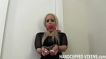 I am completely helpless in these handcuffs JOI