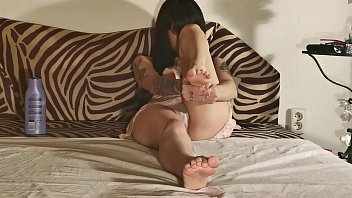 Sexy tattoed teen creaming her legs behind the scene pt1 HD