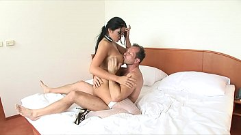 Gorgeous girl Christina Jolie with huge rack and glasses gets a big dick in her wet cunt hole