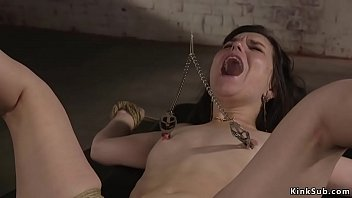 Slim slave is whipped and fucked