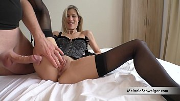 110lbs MILF Melanie takes guy home. Cuckold Guy jerks off in the same room