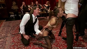 Slaves and guests fucking at bdsm party