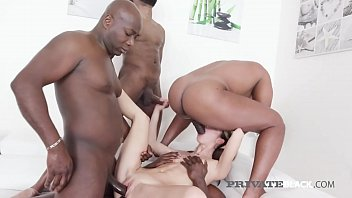 Gangbanged Gina Gerson takes on 4 big black cocks & doesn't disappoint as she takes all those huge dark dicks in her hot cock garage, juicy pussy & beautiful backdoor! Full Flick at PrivateBlack.com!
