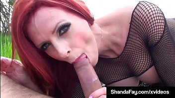 Canadian Cougar Shanda Fay Bangs Cock Outdoors!
