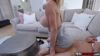 Busty blonde MILF stepmom takes a care of her stepson