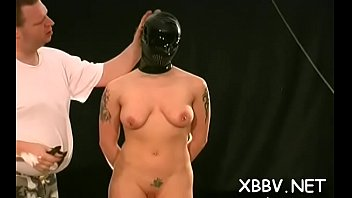 Sex tube breast Naked wife stands fastened up and endures enormous breast bondage