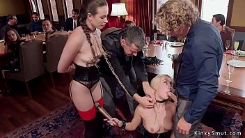 Slaves are tormented at orgy party