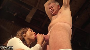 Babe with nice tits gets fucked by old guy with thick dick