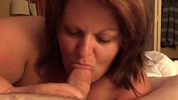 Cheating bbw wife sucking cock until he cums