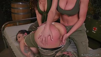 Lesbian soldiers anal toying and fisting