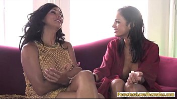 Big boobs babe wrapped by horny shemale