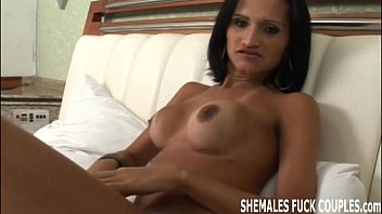 Get your ass fucked by a tranny in your first shemale threesome