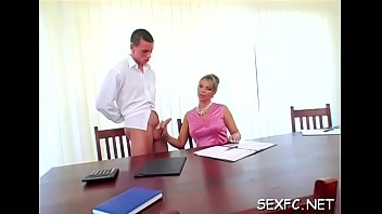 Clothed and concupiscent hotties getting a huge cock treatment