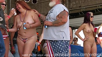 Biker women nuded - Getting a biker rally wet tshirt contest started in iowa