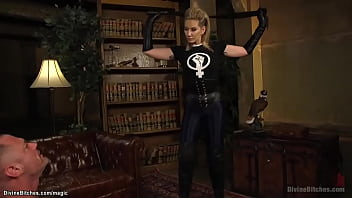 Femdom with strap on pegging man