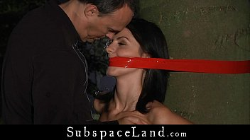 Master whips her slave while shes carrying heavy weights