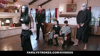 FamilyStrokes - Costumed Teen (Kate Bloom) And Milf (Audrey Noir) Get Fucked Hard And Rough For Halloween