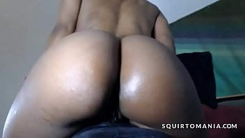 Black Girl with Perfect Butt and Creamy Wet Cunt Leaking on Dildo
