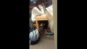 Cams4free.net - Candid Brunette Feet in College Library thumbnail