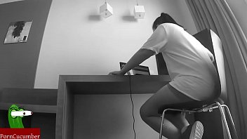 Blowjob On The Computer Table. Voyeur Video Taped With Spycam San77