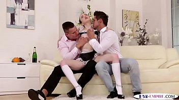 Hunky bisexual couple trio with lingerie maid