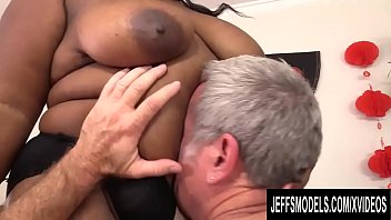 Ebony BBW with Mega Milkers Olivia Leigh Gets Her Ass Reamed by a White Rod preview image