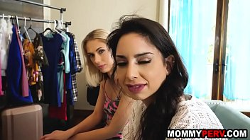 Mom and daughter suck step son