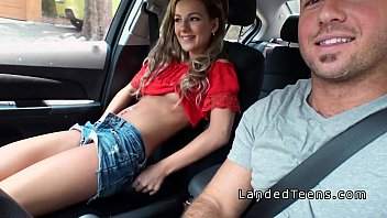 Blonde stranded teen sucking cock in car thumbnail