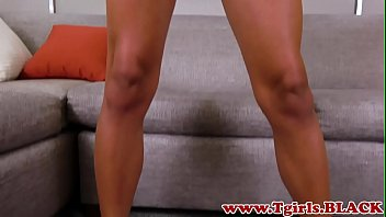 Young ebony amateur stroking her dick