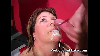 Chubby bukake Shooting cumshots into mature womans mouth