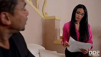 Lady boss Anissa Kate rides big black monster cock for cum on nerdy glasses