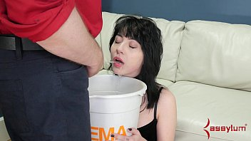Forced to drink own cum Piss waterboarding and rough anal for petite goth masochist