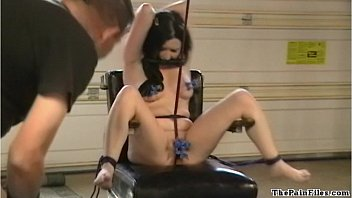 American bondage babe CC Jolies electro bdsm and extreme pain in masochist
